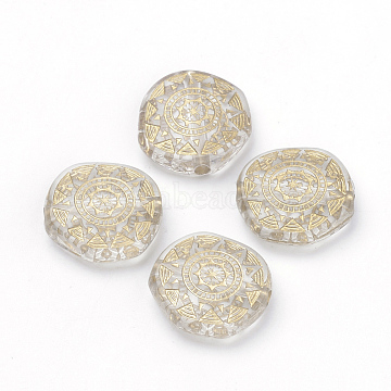 Plating Transparent Acrylic Beads, Golden Metal Enlaced, Flat Round, Clear, 18x17.5x6mm, Hole: 2mm(X-PACR-Q115-45)