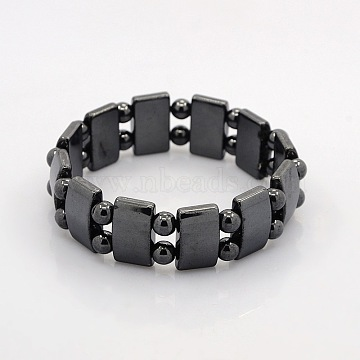 Magnetic Hematite Rectangle and Round Beads Stretch Bracelets for Valentine's Day Gift, 60mm(BJEW-M066-10)
