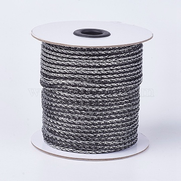 Resin and Polyester Braided Cord Thread, DarkGray, 4mm; about 50yards/roll(45.72m/roll), 150 feet/roll(OCOR-F008-D05)