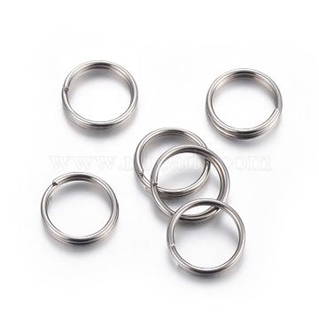 304 Stainless Steel Split Rings, Stainless Steel Color, 7x1mm; Inner Diameter: 5.7mm; Single Wire: 0.6mm(STAS-P223-22P-10)