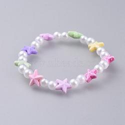 bracelets stretch enfants, avec perle acrylique imitée et perles acryliques colorées, étoile de mer / étoiles de mer, coloré, 1-5 / 8 (4.3 cm)(BJEW-JB04572-02)