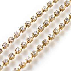 2.5 mm de large catégorie de ton argent un vêtement décoratif de chaînes en cristal en laiton de parage strass grade A tasse de strass grade A(X-CHC-S8-G)