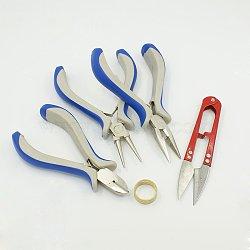 Sets d'outils de bricolage de bijoux, pinces, bagues et main scissored, couleur mixte, 19~125x19~75mm(TOOL-MSMC002-03)