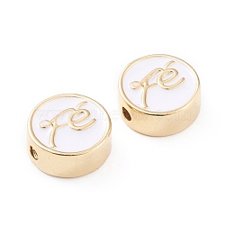 Brass Enamel Beads, Long-Lasting Plated, Flat Round with Stethoscope, White, Real 18K Gold Plated, 11x4.5mm, Hole: 1.8mm(X-KK-F814-02G)