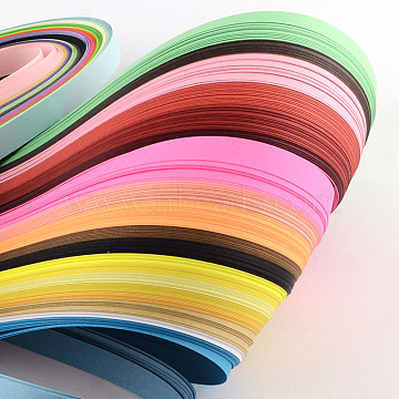 Rectangle 36 Colors Quilling Paper Strips, Mixed Color, 525x5mm; about 360strips/bag, 36color/bag(X-DIY-R041-02)