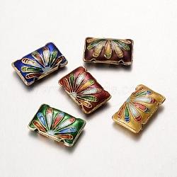 Perles colorées mixtes fleur rectangle main de cloisonne, longueur d'environ 19 mm ,  largeur de 12.5 mm, épaisseur de 5mm, Trou: 1mm(X-CLB182Y)
