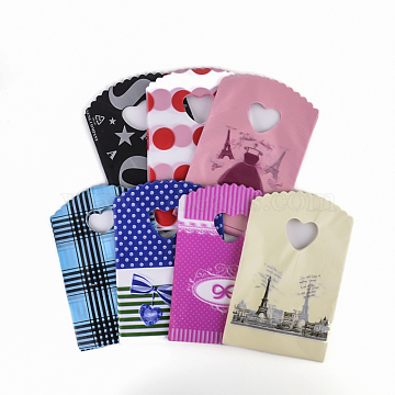 Printed Plastic Bags, Mixed Color, 24.5x18cm(X-PE-T001-18x25cm-M)