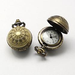 Zinc cru têtes de montres alliage de quartz, pour création de montre de poche collier pendentif , bronze antique, 36x27x25mm, Trou: 10x1mm(WACH-R008-10)
