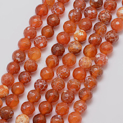 Natural Fire Agate Bead Strands, Round, Grade A, Faceted, Dyed & Heated, OrangeRed, 8mm, Hole: 1mm; about 47pcs/strand, 15inches