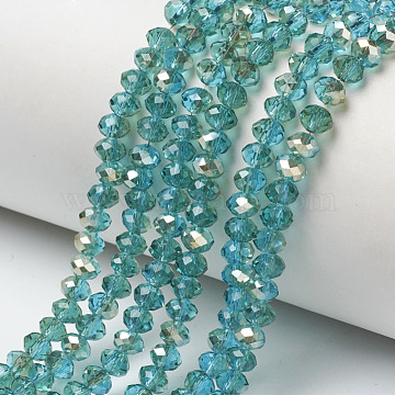 "Electroplate Glass Beads Strands, Half Plated, Rainbow Plated, Faceted, Rondelle, DarkTurquoise, 6x5mm, Hole: 1mm; about 92~94pcs/strand, 17~17.5""(42.5~43.75cm)(EGLA-A034-T6mm-K19)"