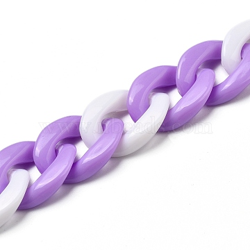 Handmade Acrylic Twisted Chains, Curb Chains, White, Orchid, Links: 19x13.5x4mm; 39.37 inches(1m)/strand(AJEW-JB00694-02)