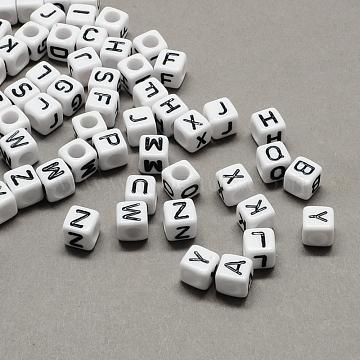 Large Hole Acrylic European Beads, Horizontal Hole, White & Black, Cube with Letter, Mixed, 6x6x6mm, Hole: 4mm(X-SACR-Q103-6mm-01)