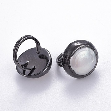 Natural Pearl Adjustable Rings, with Brass Findings, Gunmetal, Size 8, 18mm(RJEW-E161-01B)