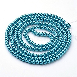 perles en verre perles brins, pearlized, arrondir, sarcelle, 4 mm, trou: 0.8~1 mm, environ 216 pcs / brin, 32(X-HY-4D-B52)