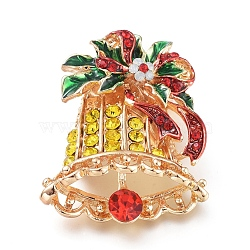 Golden Plated Alloy Brooches, with Rhinestone and Enamel, Christmas Bell, for Christmas, Colorful, 38x30.5x12.5mm; Pin: 0.8mm