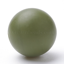 Food Grade Eco-Friendly Silicone Beads, Chewing Beads For Teethers, DIY Nursing Necklaces Making, Round, Dark Olive Green, 14~15mm, Hole: 2mm(X-SIL-R008C-49)