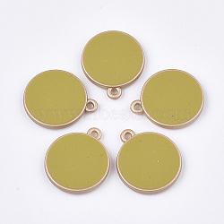 пластмассовые подвески ccb, с эмалью, плоские круглые, darkkhaki, 26x22x4 mm, отверстия: 2 mm(CCB-T007-03E)