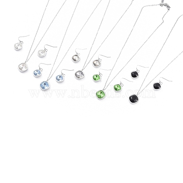 304 Stainless Steel Cubic Zirconia Jewelry Sets, Dangle Earrings & Pendant Necklaces, with Cable Chains and Lobster Claw Clasps, Rhombus, Stainless Steel Color, Mixed Color, 16.3 inches(41.5cm); 25.5mm, Pin: 0.6mm(SJEW-D093-01-P)
