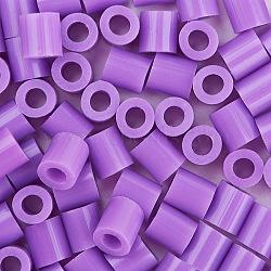 1 boîte 5 mm perles fondantes pe bricolage en perles à repasser recharges perler perles pour les enfants, Tube, mediumorchid, 5x5mm, trou: 3 mm; environ 500 / boîte(DIY-X0047-83-B)