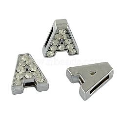 Breloques de diapositives initiales avec strass de grade A en alliage , sans plomb et sans nickel, platine, letter.a, 12~13x8~13x4~5mm, Trou: 8x2mm(ALRI-R032-A-FF)