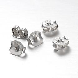 Écrous d'oreille en argent sterling, platine, 5x5x3mm, trou: 0.5 mm; environ 200 pcs / 10 g(STER-E041-11A)