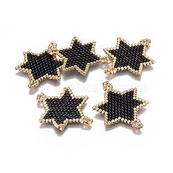 Main japonais Rocailles liens, avec fil d'importation japon, motif de tissage, hexagramme, noir, 30x24x2mm, Trou: 2mm(X-SEED-L008-023A)