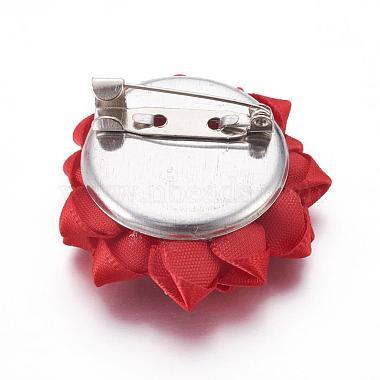 Handmade Ribbon Flower Safety Brooches(JEWB-BR00022)-3