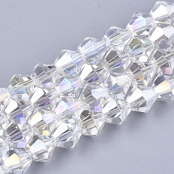 Electroplate Glass Beads Strands, AB Color Plated, Faceted, Bicone, Clear AB, 6x5.5~6mm, Hole: 1mm; about 50pcs/strand, 11.02inches