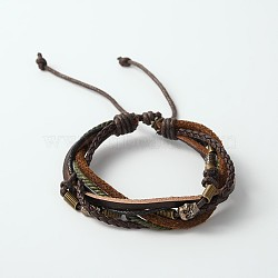 Adjustable Retro Multi-strand Bracelets, 6-strand Leather Cord Bracelets with Wood Beads, Antique Silver Tone Alloy Findings and Waxed Cord, Skull, CoconutBrown, 56mm(X-BJEW-J111-02B)