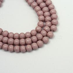 """Perles en verre peintes, cuisson des peintures, rond, rosybrown, 4 mm; trou: 1.1~1.3 mm, Environ 200 pcs/chapelet, 31.4""""(X-DGLA-S071-4mm-B24)"""