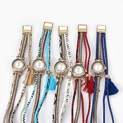 Alloy Watch Head Bracelet Watches, with PU Leather and Rhinestone, Tassel and Magnetic Clasps, 2-Loop, Wrap Bracelets, Mixed Color, 14-5/8inches(37cm), 18.5mm(WACH-P017-F)