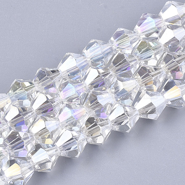 Electroplate Glass Beads Strands, AB Color Plated, Faceted, Bicone, Clear AB, 6x5.5~6mm, Hole: 1mm; about 50pcs/strand, 11.02inches(X-EGLA-Q118-6mm-B17)
