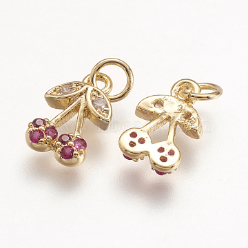 Golden Camellia Cherry Brass+Cubic Zirconia Charms