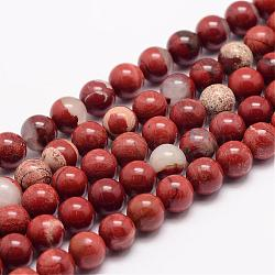 Natural Red Jasper Bead Strands, Round, 8mm, Hole: 1mm; about 48pcs/strand, 15.5