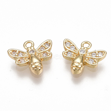 Brass Micro Pave Cubic Zirconia Charms, Bee, Clear, Nickel Free, Real 18K Gold Plated, 8.5x9.5x2mm, Hole: 1mm(X-KK-S350-081G)