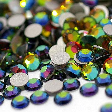 Flat Round Glass Rhinestone Cabochons