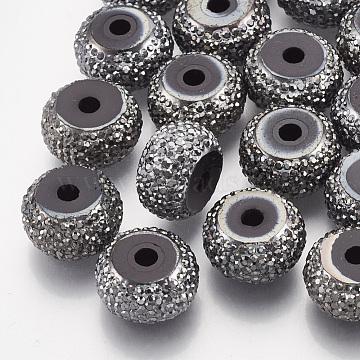 16mm Gray Rondelle Resin+Rhinestone Beads