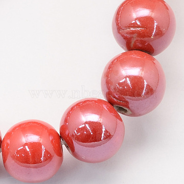 6mm OrangeRed Round Porcelain Beads