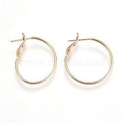 латунные серьги обруча, для изготовления ювелирных изделий и ремонта сережек, никель свободный, кольцо, реальный 18 k позолоченный, 28~32x25x5.5 mm; контактный: 0.7 mm(EJEW-P160-03G-NF)