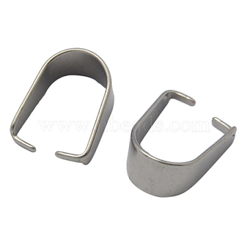 304 Stainless Steel Snap on Bails, Size: about 8mm wide, 10.5mm long, 0.5mm thick(X-STAS-Q007-1)