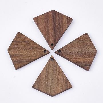 Undyed Walnut Wood Pendants, Kite, Saddle Brown, 28x26x3mm, Hole: 1.6mm(X-WOOD-T023-07)