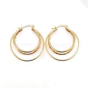 Vacuum Plating 304 Stainless Steel Hoop Earrings, Golden, 35.5x32.2mm, Pin: 1.5x0.5mm(EJEW-P176-03G)