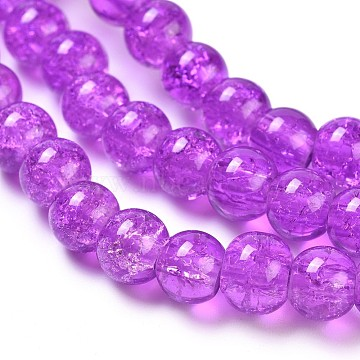 Crackle Glass Beads Strands, Round, BlueViolet, 6mm, Hole: 1.3~1.6mm; about 133pcs/strand, 31.4 inches(X-CCG-Q001-6mm-12)