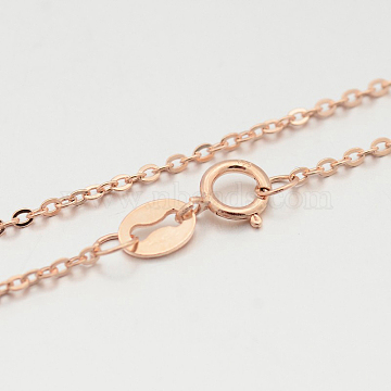 Sterling Silver Cable Chain Necklaces, with Spring Ring Clasps, Thin Chain, Rose Gold, 457x1mm(X-STER-M086-22B)