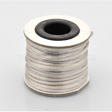 Macrame Rattail Chinese Knot Making Cords Round Nylon Braided String Threads, Light Grey, 2mm, about 10.93 yards(10m)/roll(X-NWIR-O001-A-04)