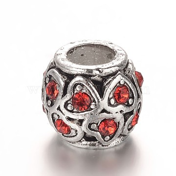Antique Silver Plated Alloy Rhinestone European Beads, Large Hole Barrel with Heart Beads, Light Siam, 10x9.5mm, Hole: 5mm(CPDL-E036-C08)