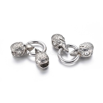 Tibetan Style Alloy Spring Gate Rings, O Rings, with Cord Ends, Bird Head Skull, Antique Silver, 6 Gauge, 56mm(X-PALLOY-G151-25AS)