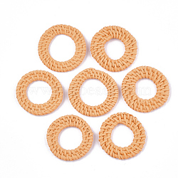 Handmade Reed Cane/Rattan Woven Linking Rings, For Making Straw Earrings and Necklaces, Ring, Coral, 35~45x4~6mm, Inner Diameter: 15~25mm(X-WOVE-T006-154C)
