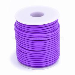 Tuyau creux corde en caoutchouc synthétique tubulaire pvc, enroulé aurond de plastique blanc bobine, mauve, 2mm, trou: 1 mm; environ 50 m / rouleau(RCOR-R007-2mm-18)