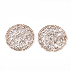 подвесные украшения из полиэстера, с железом выводы, плоские круглые с цветком, светлое золото, белье, 28x1.5 mm(FIND-S283-06G)